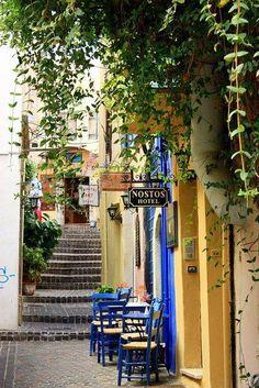 Sidewalk Cafe in Chania, Crete island