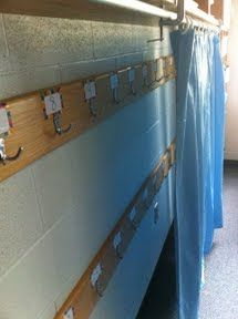 Kiwi Konnections Idea- shower curtain solution to the messy backpack hooks- also prevents kids from getting in their bags or others at random times- once the curtain is closed! Less than 20 buck solution. Classroom Cubbies, Classroom Curtains, Classroom Walls, Classroom Setup, Kindergarten Classroom, Future Classroom, Portable Classroom, Classroom Helpers, Classroom Routines