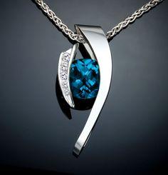 London blue topaz necklace, statement necklace, Christmas necklace, white sapphires, December birthstone, Argentium silver, artisan - 3374