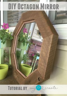 Decorate your home with a DIY Octagon Mirror to get that high end look, on the cheap! Tips on cutting a mirror to fit your frame.
