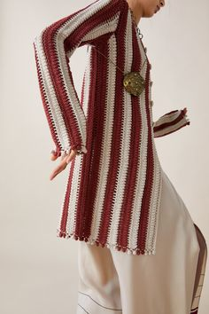 LIMITED EDITION ZARA STUDIO CROCHET TWO - TONE COAT-Cardigans-KNITWEAR-WOMAN | ZARA United States Gilet Crochet, Crochet Cardigan, Moda Boho, Sequin Sweater, Online Zara, Knitted Coat, Crochet Woman, Crochet Designs, Crochet Clothes