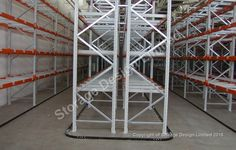 Heavy duty apex pallet racking with guide rail for vna forklift installed by Storage Design Limited Business Magnets, Small Parts Storage, Shelving Systems, Storage Design, Beams, Lockers, Locker Storage, Pallet Racking, Projects
