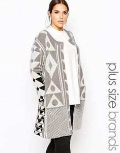 Carmakoma Abstract Patterned Cardigan grey tribal sweater