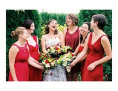 All different styles of red bridesmaid dresses!