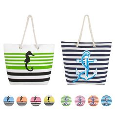 Swan Comfort Striped Canvas Beach Bag Sea Horse & Anchor Design - Tote Bag - BelleChic