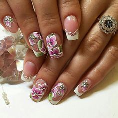 Rose Nail Art, Flower Nail Art, Glitter Nail Art, French Manicure Nails, French Nails, Pretty Nail Designs, Nail Art Designs, Nail Ink, Skull Nails