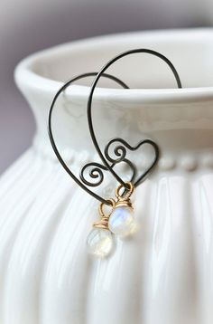 Heart Within Sterling Wire Sculpted Hoops with Gold