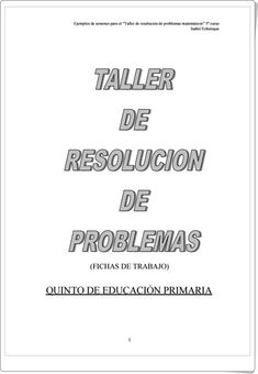 Taller de resolución de problemas para 5º de Primaria (Isabel Echenique)