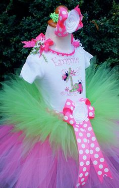 Pink & Lime Lady Bug Tutu Outfit....Custom Sewn by PoshPinkTutus, Etsy