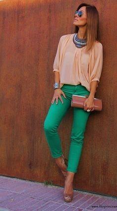 Green pants.
