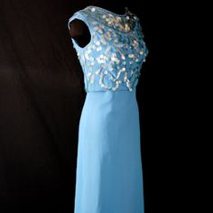 vintage 1960s cinderella blue evening sheath with beaded paillette overlay...pretty....wish i liked light blue on me...cause if i did i would love this for the gala...