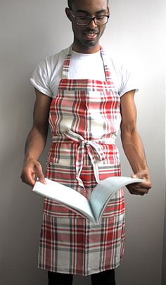 Red plaid mens apron chef apron canvas apron by SSatHome on Etsy,