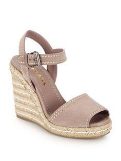 Prada - Suede Peep-Toe Espadrille Sandals