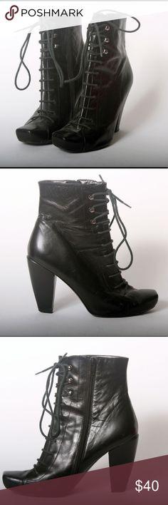 Rocha John Rocha Black Lace Up Boots - 39/9 Rocha John Rocha Black Lace Up Boots - size 9 / 39 Side Zip and Lace Up. Squared Toe. Heel is 4 inches Rocha John Rocha  Shoes Ankle Boots & Booties