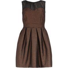 Bronze sheer yoke dress ($89) ❤ liked on Polyvore