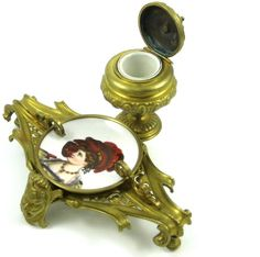 Victorian Bronze Rococo Inkwell With Hand Painted Porcelain Insert+