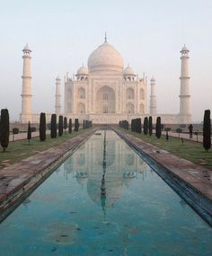 Sunrise at the Taj Mahal, India. #travel