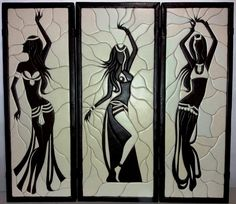"Картина ""Танцовщицы"" - Вижен Tile Art, Mosaic Art, Mosaic Glass, Glass Art, Marilyn Monroe Painting, African Paintings, How To Make Clay, String Art Patterns, Africa Art"