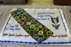 The baker at the grocery was able to scan my sons merit badge sash and turn it into one of the edible sheets.  What fun seeing his accomplishments on the cake itself!