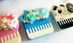 Blue Swan Piano Contact Lens Case Set - Baby Grand Deco Kawaii Gothic Lolita Hime Gyaru Music. $27.00, via Etsy.