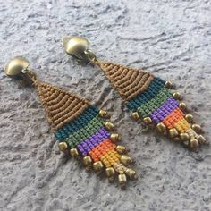 Macrame Rings, Macrame Necklace, Macrame Knots, Macrame Jewelry, Macrame Bracelets, Macrame Earrings Tutorial, Earring Tutorial, Crochet Earrings, Macrame Thread