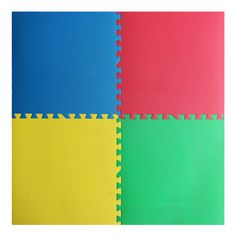 Red, Yellow, Green and Blue X Anti-Fatigue Interlocking Mats Pack) Interlocking Mats, Window Coverings, Cleaning Wipes, Connection, Flooring, House Styles, Yellow, Blue, Color