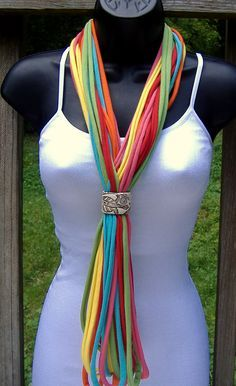T Shirt Scarf Necklace-Multicolor by MarciaPalmer on Etsy Scarf Necklace, Fabric Necklace, Scarf Jewelry, Fabric Jewelry, Jewellery, Diy Scarf, Scarf Shirt, T Shirt Yarn, Shirt Scarves