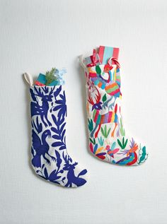A stylish addition to your holiday decor with a little bit of history, this handmade cotton stocking is hand-embroidered with the traditional designs of the Otomi people, an ethnic group native to central Mexico known for its use of bold colors and flora-and-fauna motifs. Shop this Christmas heirloom-in-the-making here!