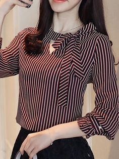 Blouse styles - Sashes Stripe ONeck Lantern Sleeves Women's Blouses Neck Designs For Suits, Sleeves Designs For Dresses, Stylish Dress Designs, Blouse Neck Designs, Blouse Styles, Dress Shirts For Women, Blouses For Women, Women's Blouses, Girls Fashion Clothes