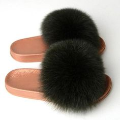 Women Slippers Fur Furry Slippers Home Real Fur Slides – slipper&sandal wholesale Fashion Slippers, Fashion Shoes, Slipper Sandals, Women Slides, Malu, Women Brands, Fur Slides, Fox Fur, Types Of Shoes