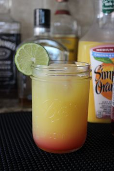 Breakfast Cocktail Hour: Tequila Sunrise. This is how we start Pj day!! ;)