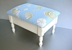 Vintage Beach Stool Small Bench Shells Starfish Aqua by Swede13, $48.00  This gives me an idea to redo the stool that we have at home.. :)