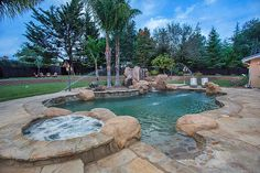On a 1-acre lot in Solvang, Paradise Valley Retreat offers the best in Santa Ynez Valley outdoor living. The backyard oasis features an inviting swimming pool and slide, vast lawns, basketball, horseshoes and bocce, and an outdoor kitchen with gas grill and fridge.
