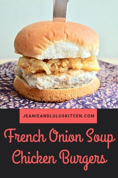 These French onion soup chicken burgers are so juicy and flavor with caramelized onions and smoked gruyere for toppings. Brown Sauce, Soup Appetizers, Onion Soup Mix, French Onion, Caramelized Onions, Healthy Recipes, Healthy Eats, Yummy Recipes, Dessert Recipes