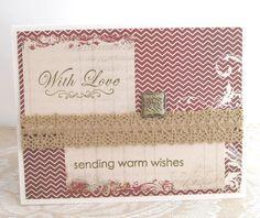 Warm Wishes Card  With Love Card  Holiday by PrettyByrdDesigns
