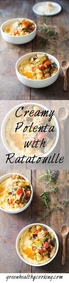 """Creamy Polenta with Ratatouille: recipe for a healthy """"cosy"""" meal. A heart-warming bowl of deliciousness. The perfect vegetarian dish to share with others."""