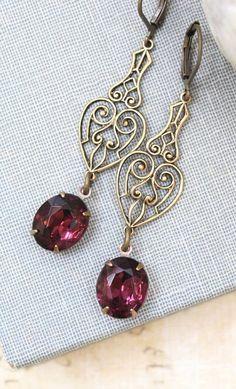 Long Dangle Earrings Purple Vintage Glass