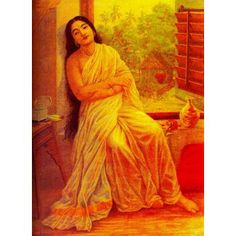 Manorama/lady sitting by the window (Ravi Varma Print)