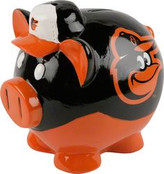 Baltimore Orioles Thematic Piggy Bank <<<< not sure what's going on with those white eyes but otherwise I like this!!