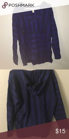 Forever 21 thin Baja hoodie poncho Dark blue purple barely worn. Good condition. Size: medium Forever 21 Sweaters