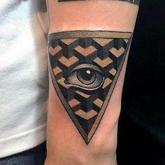 Swan took a geometric approach with this tattoo. #inked #geometric #eye #allseeingeye #tattoo #Ink