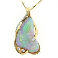 Australian Multicolor Opal Diamond Gold Pendant