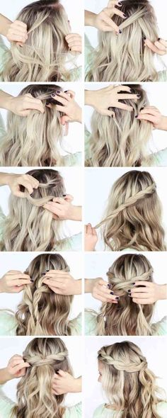 """tuto coiffure cheveux mi long idee-couronne-tresse """" Quick Hairstyles, In my opinion, hair ribbons/scarves are the prettiest hair accessories. Medium Long Hair, Medium Hair Styles, Short Hair Styles, Braids For Medium Length Hair, Crown Hairstyles, Braided Hairstyles, Wedding Hairstyles, Latest Hairstyles, Elegant Hairstyles"""
