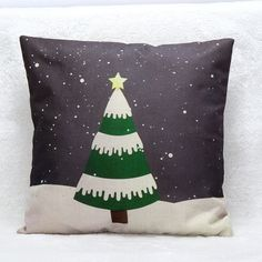 Christmas Tree Brown Pillow Case