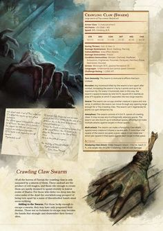 Crawling Claw! Dungeons And Dragons Rules, Dungeons And Dragons Homebrew, Dungeons And Dragons Characters, Dnd Characters, Fantasy Characters, Creature Feature, Creature Design, Fantasy Creatures, Mythical Creatures