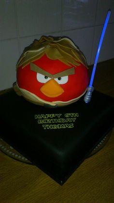 Luke Skywalker star wars angry birds birthday cake with glow stick light saber!!