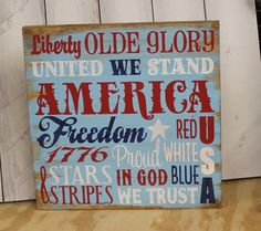 4th of July Subway Style Sign/Americana Sign/Holiday Decor/Red/White/Blue Patriotic Crafts, July Crafts, Patriotic Decorations, 4th Of July Party, Fourth Of July, Yankee Doodle Dandy, Flag Signs, Diy Signs, Mayo