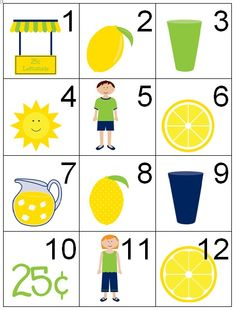 Cute lemonade theme cards for summer, can use these somehow for speech, /l/, summer themes...