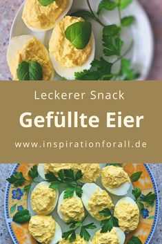 Russian eggs - simple recipe for spicy stuffed eggs with garlic - Stuffed egg halves: recipe for a tasty snack - Party Finger Foods, Snacks Für Party, Yummy Snacks, Snack Recipes, Healthy Recipes, Easy Recipes, Easy Cooking, Healthy Cooking, Benefits Of Potatoes