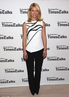 Sophisticated: Claire Danes looks elegant in a black and white ensemble for TimesTalks at The Times Center in New York on Tuesday night